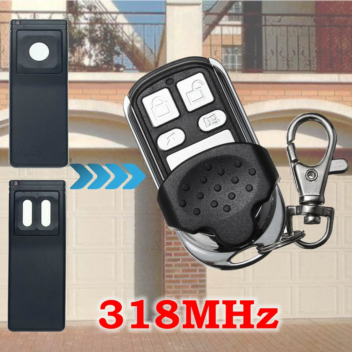 4 Button 318MHz Replacement Garage Door Remote Control for MCT-11 MCT-3 DNT00090