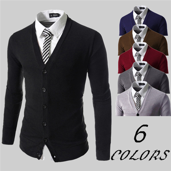 Fashion Pure Color Knit Cardigan Slim Fit V-neck Cardigan