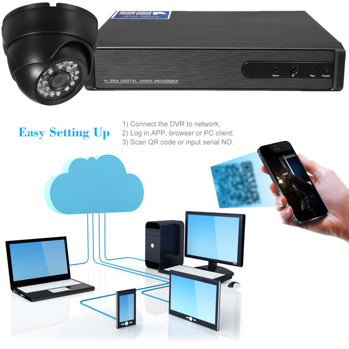 4CH 720P DVR Infrared IP Camera Indoor CCTV Security Night Vision Camera System