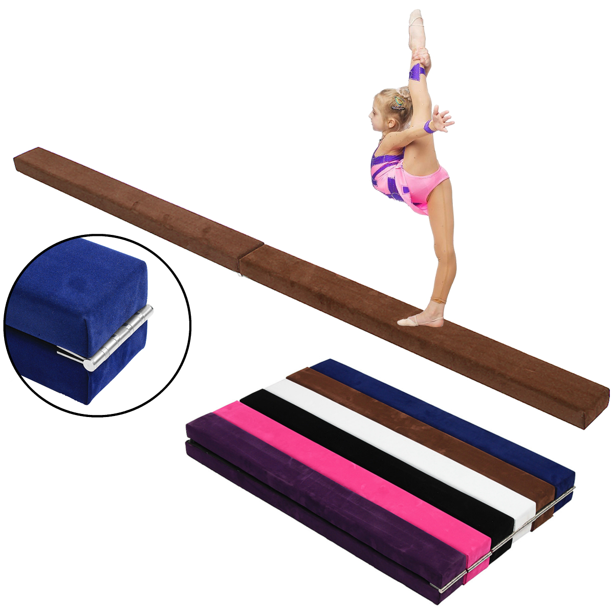 48x3.9x2.2inch Kids Folding Balance Beam Gymnastics Mat Training Pad Sports Protective Gear