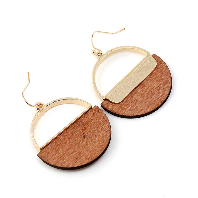 Fashion Geometric Dangle Earring Simple Classic Wood Metal