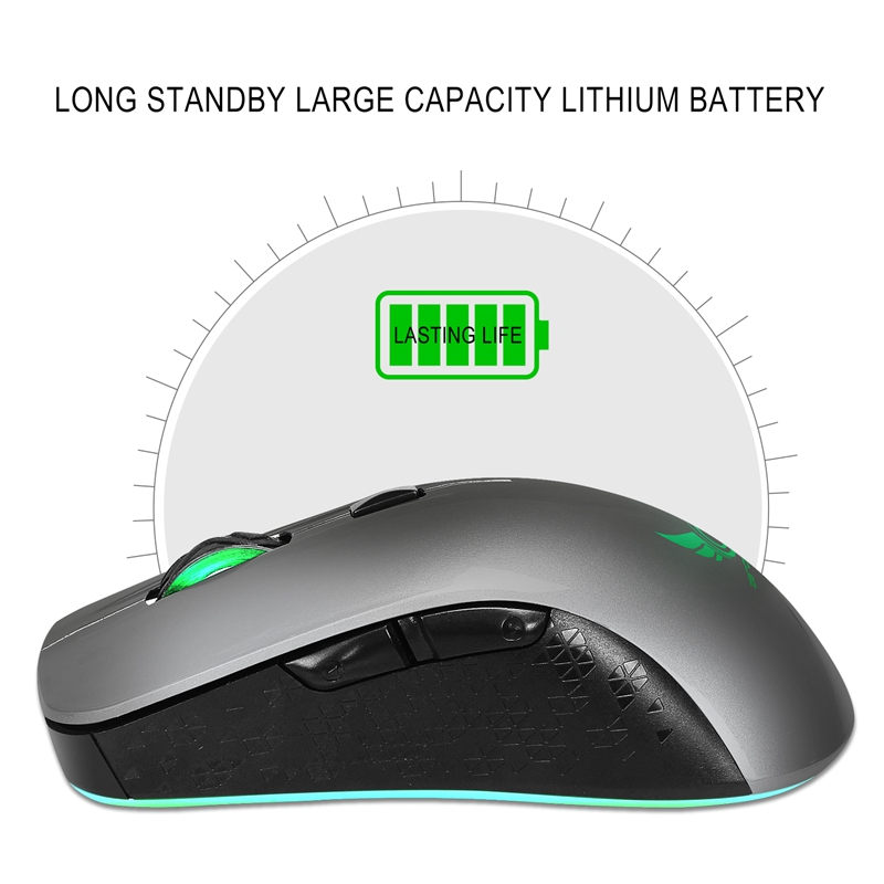 Zerodate X90 2.4GHz 2400DPI Wireless Rechargeable Gaming Mouse 6Buttons 7 Colors Breathing Light