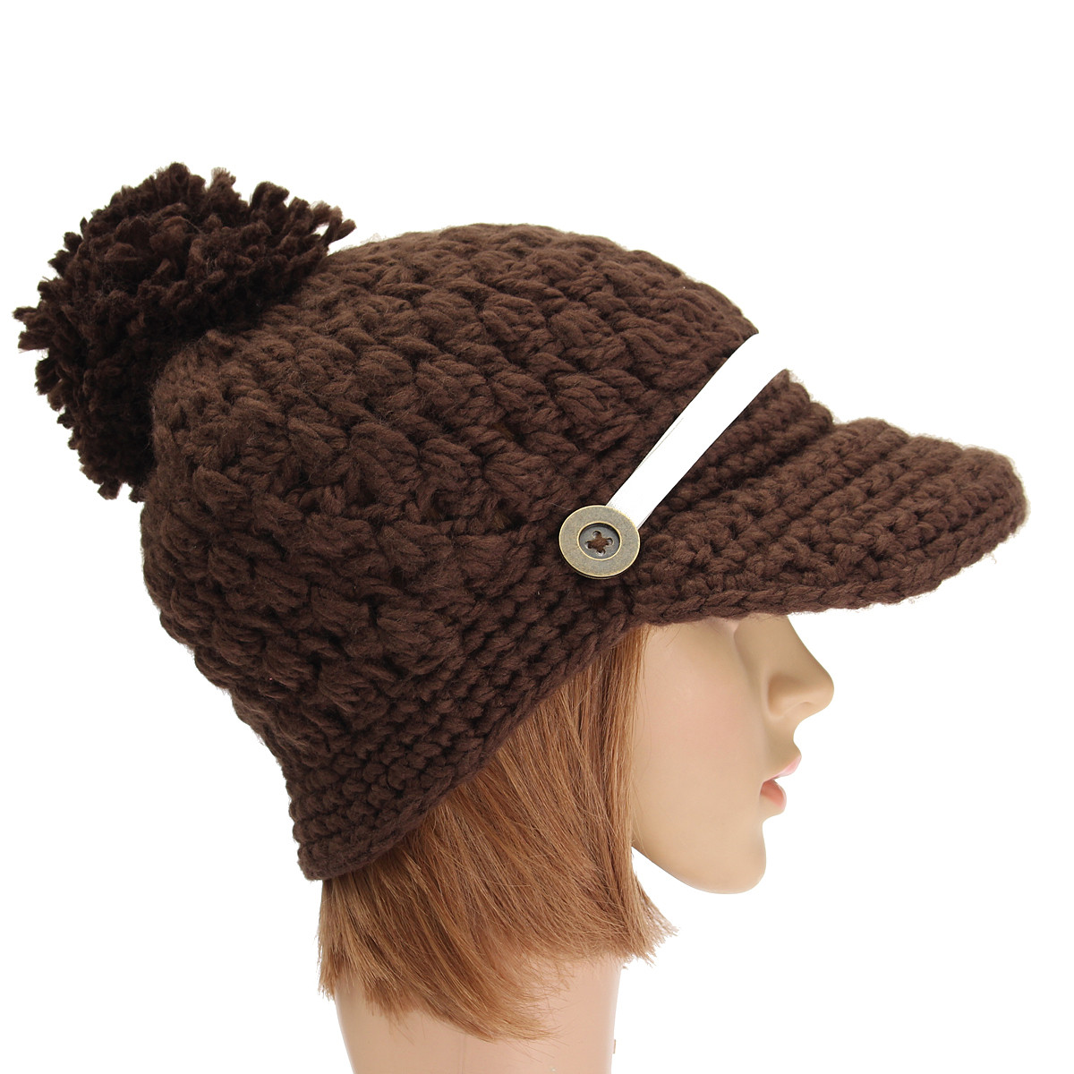 Women Ladies Braided Knitted Baggy Beanie Knit Crochet Ski Hat Button Decorative Baseball Cap