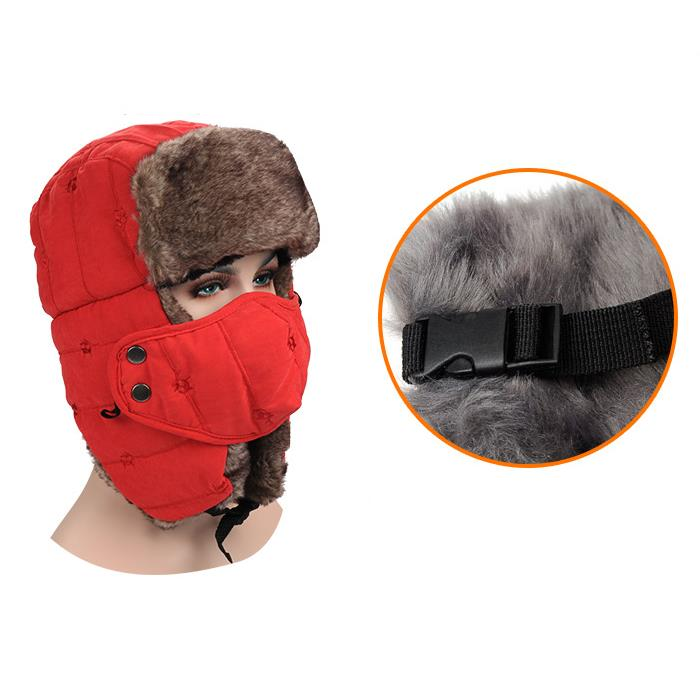 Mens Velvet Winter Russian Hats Outdoor Skiing Windproof With Masks Lei Feng Caps