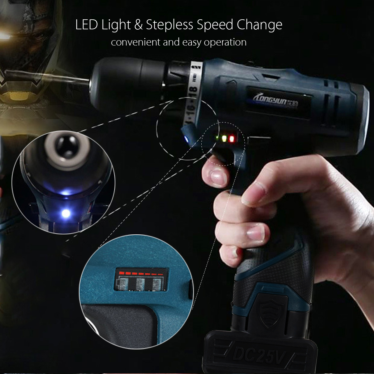 Lomvum 25V Li-Ion Cordless Electric Hammer Power Drills Driver Hand Kit 2 Speed LED