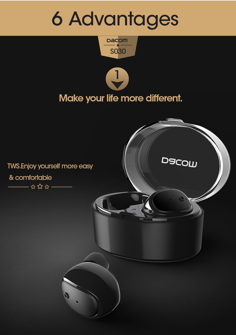 DACOM S030 TWS Business Stealth Wireless bluetooth Earphone Earbuds with Mic for Xiaomi Mobile Phone