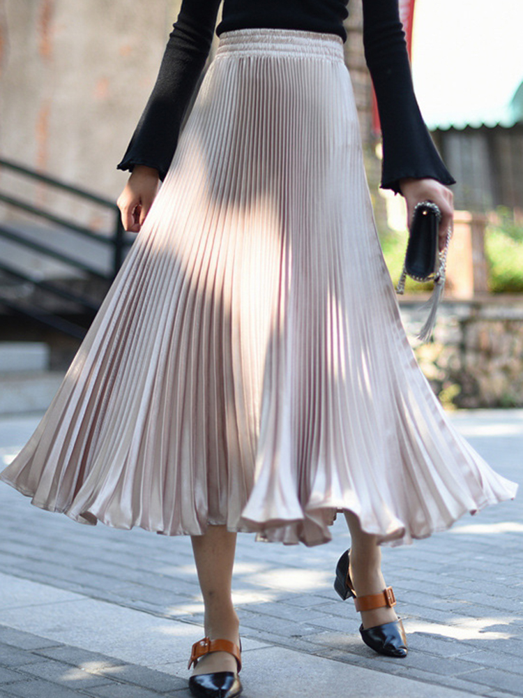 Elegant Women 11 Colors Pleated Skirts