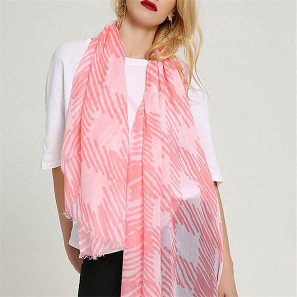 Women Chinese Style Cotton Stripe Plaid Scarves Shawl Scarf