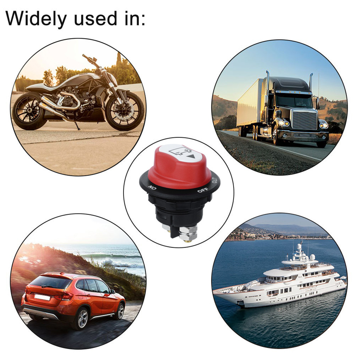 12-50V Car Battery Rotary Isolator Battery Switch Selector 200A for Motorcycle Truk Boat