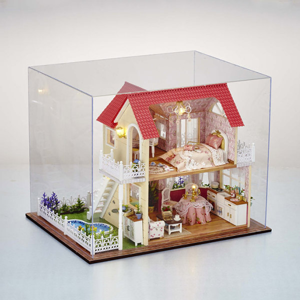 CuteRoom DIY Transparent Display Box Dust-proof Cover Dollhouse Princess Room