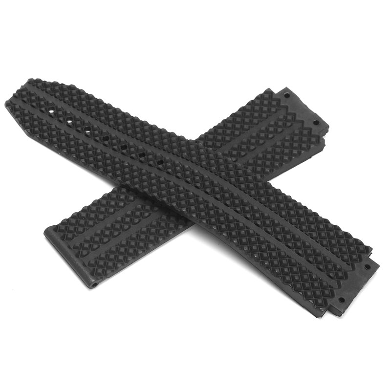 25mm Replacement Black Silicone Rubber Watch Strap For HUBLO