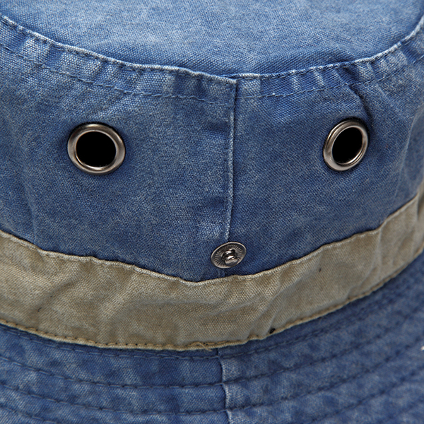 Men Denim Stripe Bucket Sun Hats Wide Brim Sunscreen Hunting Fishing Outdoor Military Caps