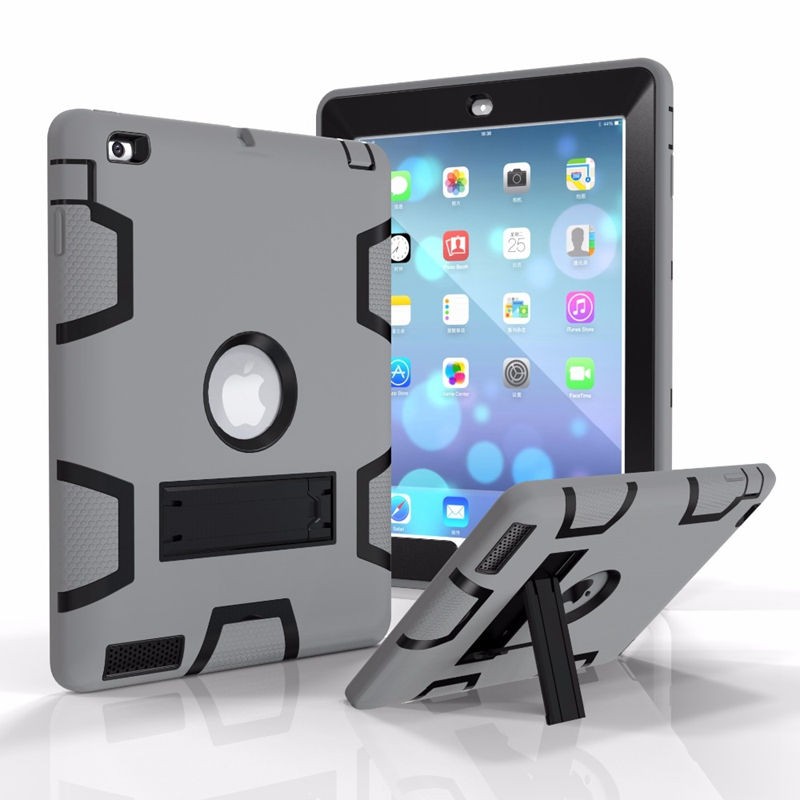Armor Heavy Duty Shockproof Kickstand Silicone+PC Case For iPad 2 3 4