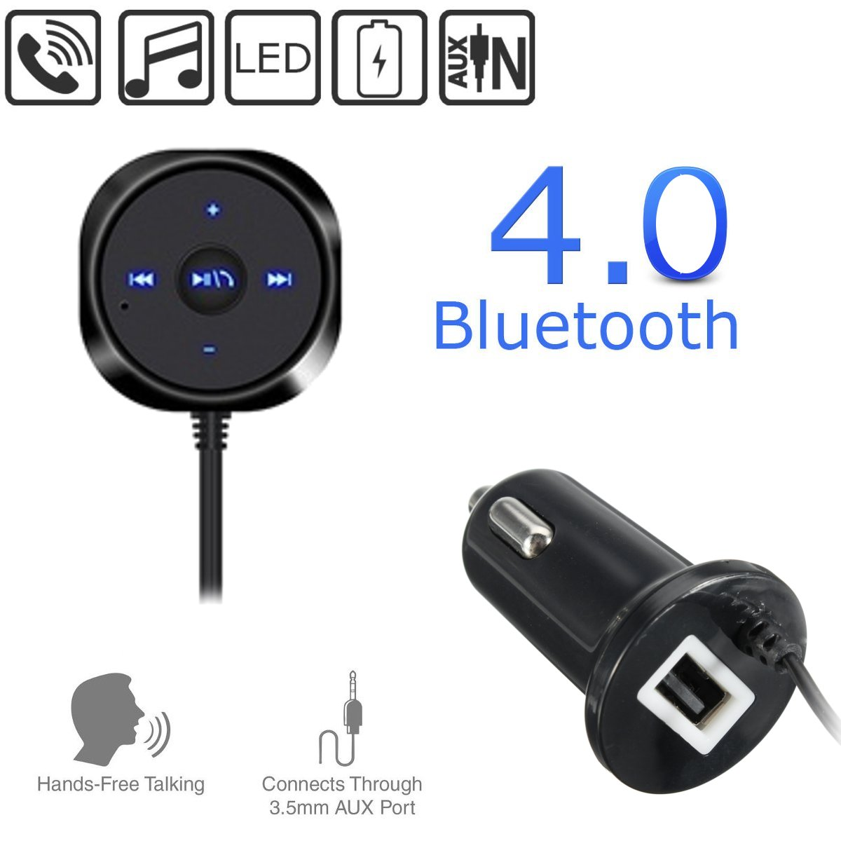 bluetooth 4.0 Wireless Music Receiver 3.5mm Adapter Handsfree Car Charger With AUX Speaker For iphon