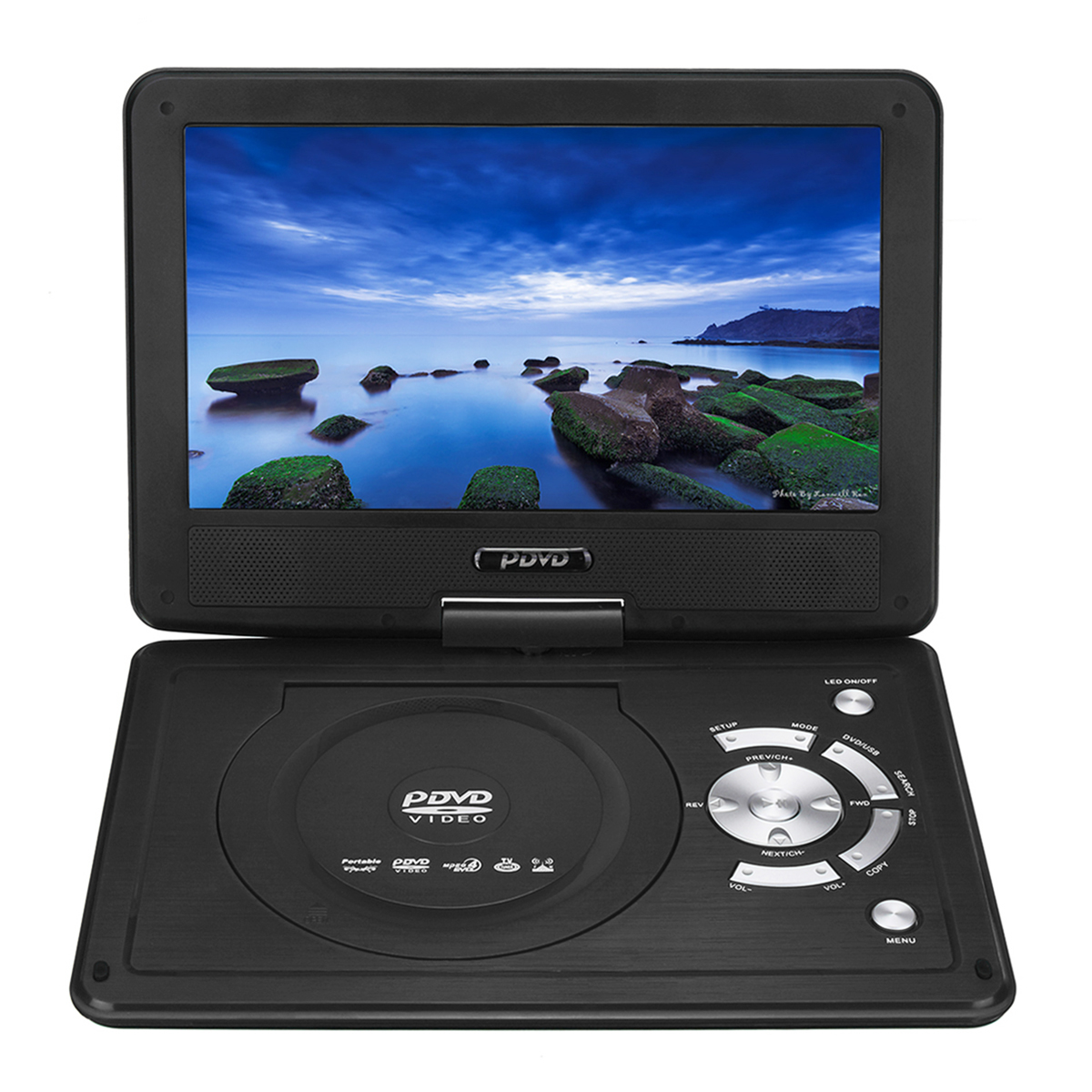 9.8 Inch Portable Rechargeable Car DVD Player Game Video Control 270 Degree Screen