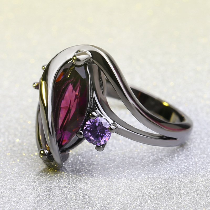 Elegant Amethyst Purple Engagement Women Rings Gift