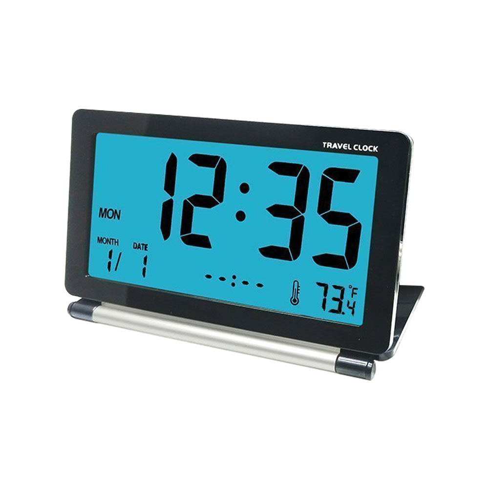 Loskii DC-11 Electronic Alarm Clock Travel Clock Multifunction Silent LCD Digital Large Screen Folding Desk Clock With Temperature Date Time Calendar