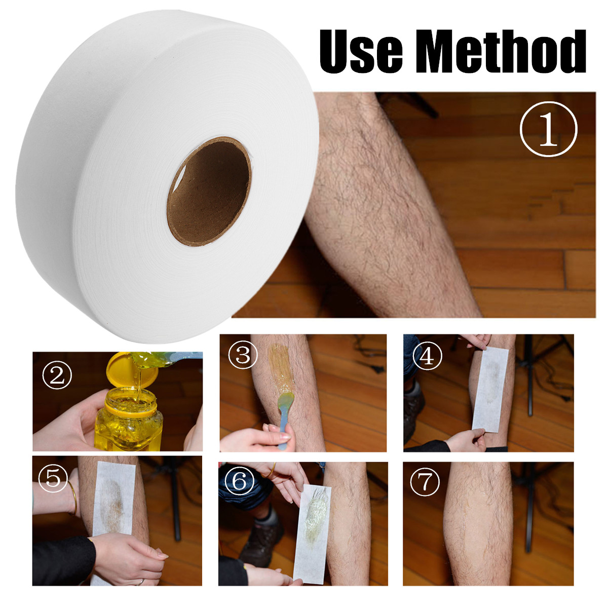 80 Yards 7cm Disposable Non-Woven Depilatory Strip Roll Hair Removal Wax Paper