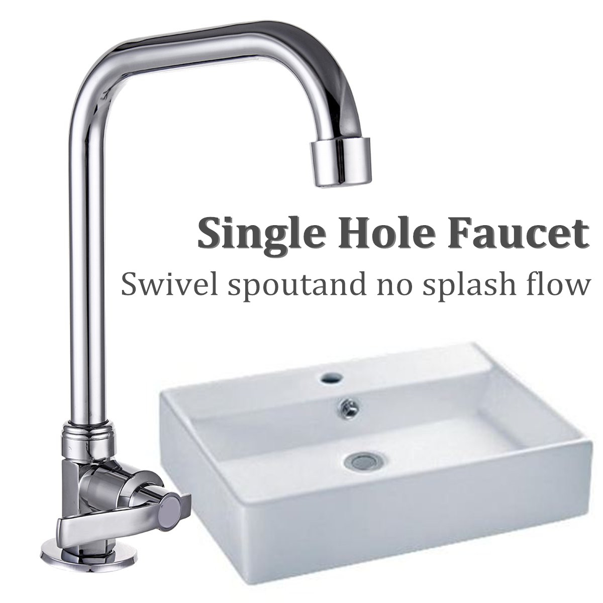 Stainless Steel Single Hole Faucet Kitchen Wash Basin Rotate Water Taps Mixer