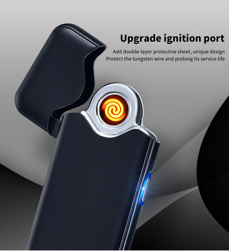 KCASA KC-729 Fingerprint Sensing USB Charging Lighter Ultra Thin Windbreak Electronic Lighter