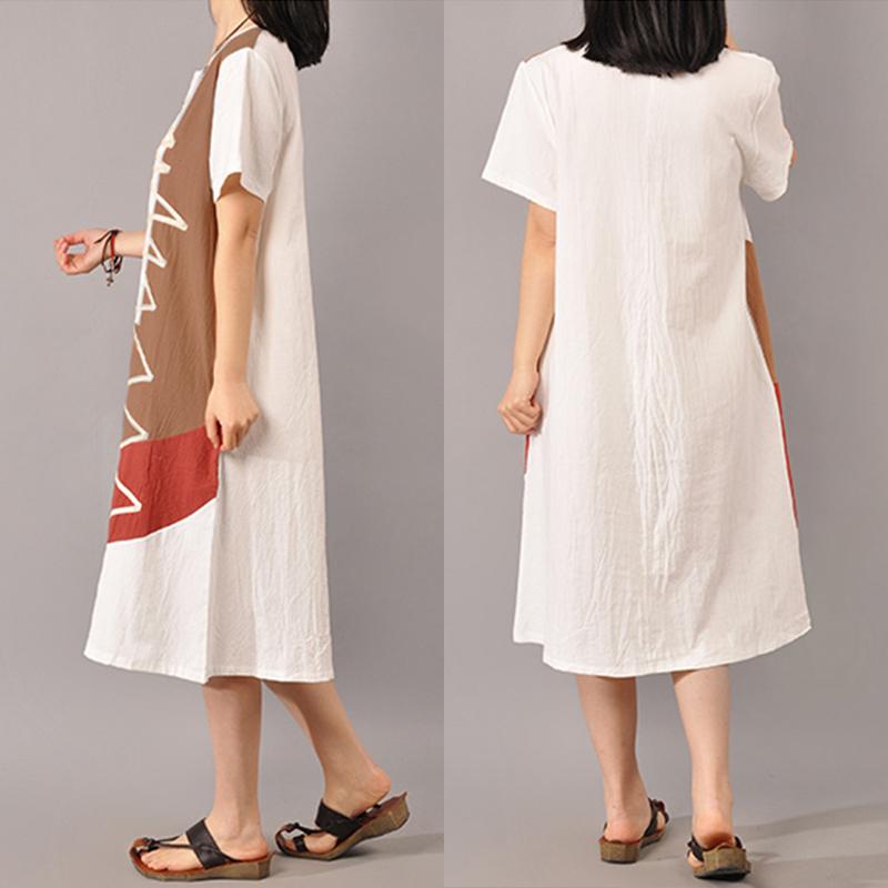 S-5XL Women Short Sleeve Splice Mid-long Dress