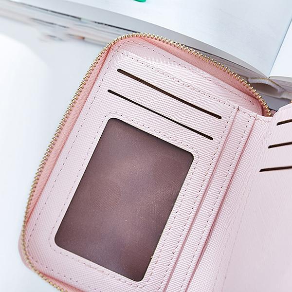 Women Fashion Multi-Slots Card Holder Double Zipper Wallet