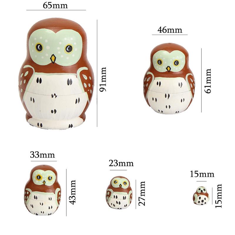 5PCS Wooden Madness Russian Babushka Matryoshka Owl Pattern Doll Nesting Doll Kids Collection Toy