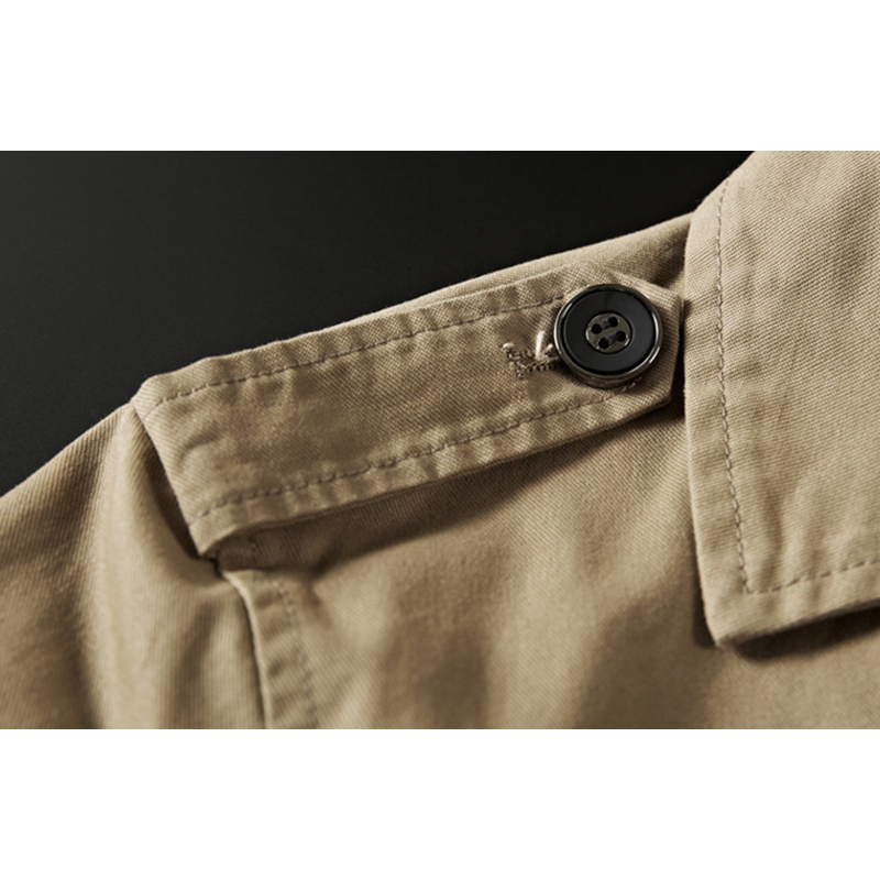 Men's Military Cotton Loose Epaulette Mid-Long Trench Coat