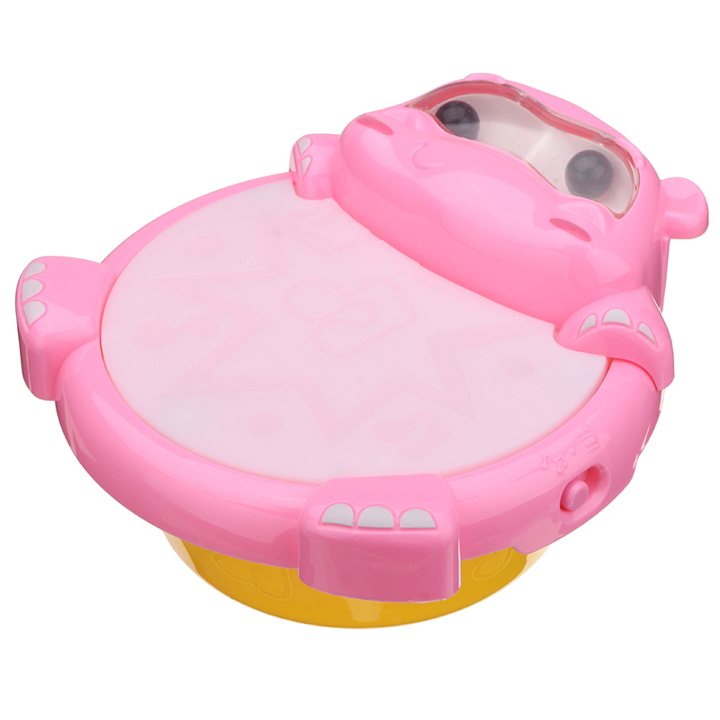 2209-10 Kids Puzzled Hippo Music Light Drum Early Education Toy Musical Sound Beat Fun Gift