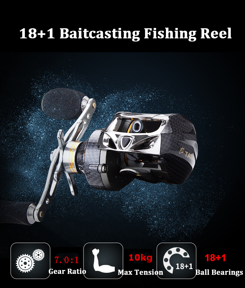 ZANLURE TAI-A113 7.0:1 18+1BB Carbon Fiber Baitcasting Fishing Reel 10KG Drag Left / Right Hand Fishing Wheel