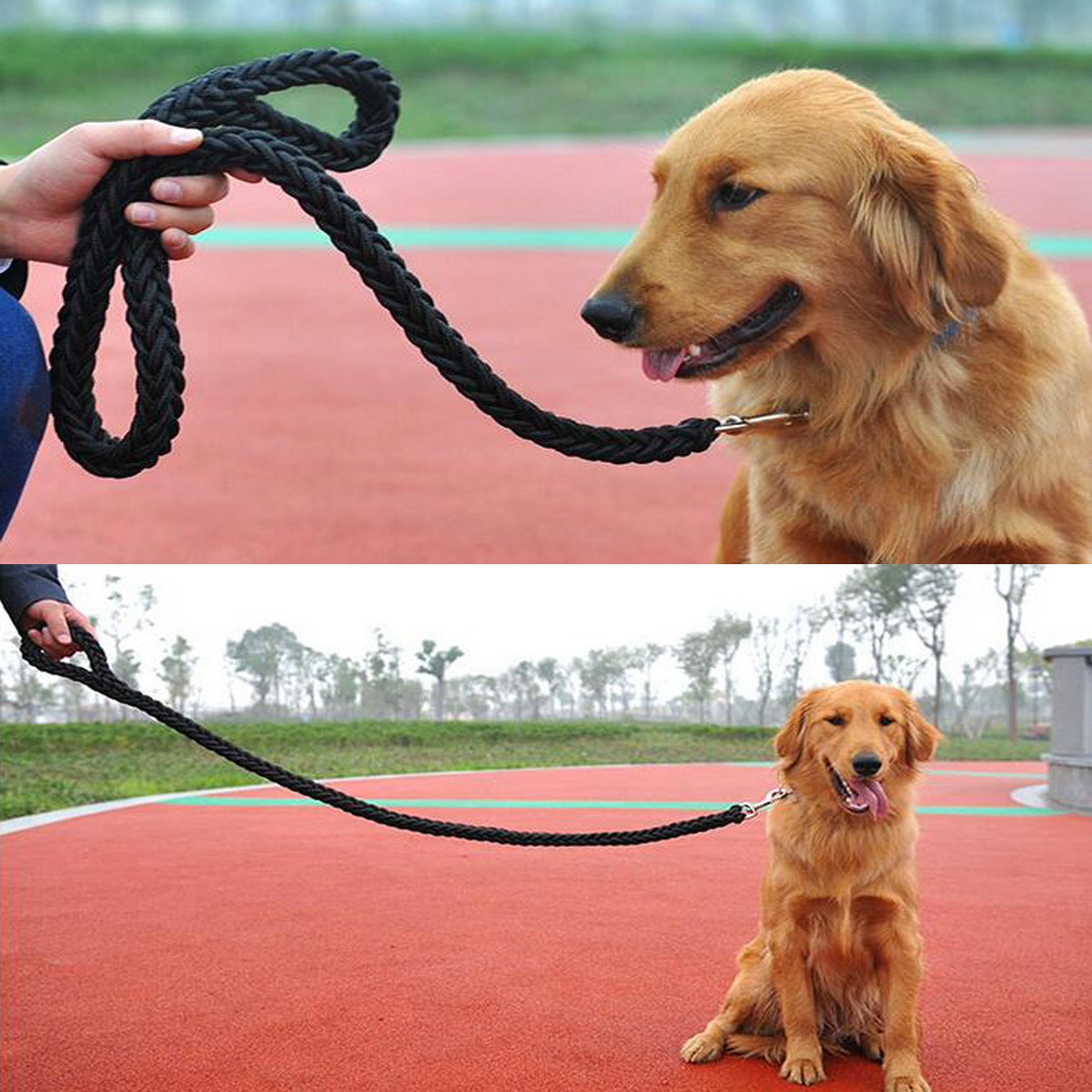 Hunting 115CM Pet Dog Durable Nylon Braided Lead Leash Handle Walking Traction Rope