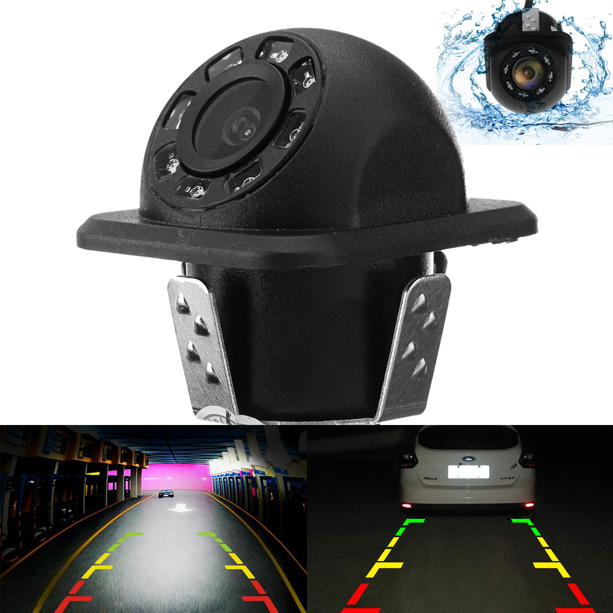 8 LED Night Vision 170° Car Rear View Waterproof Reverse Backup Camera