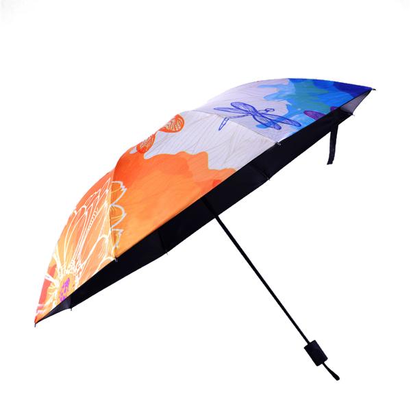 LYZA Hand-painted 3 Folds Rain Umbrella Sunscreen Umbrella Sun Umbrellas Foldable