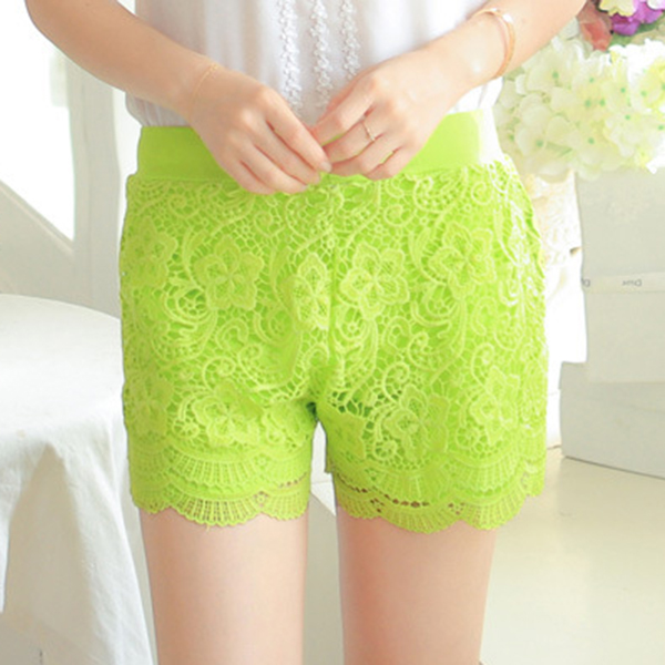 Cosy Lace Embroidery Crochet Hip Lifting Slim Safety Pants Breathable Boyshorts
