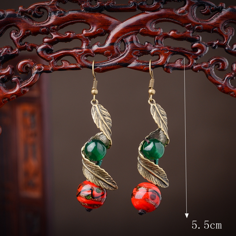 Ethnic Retro Ear Drop Vintage Rotary Leaves Agate Earrings for Women