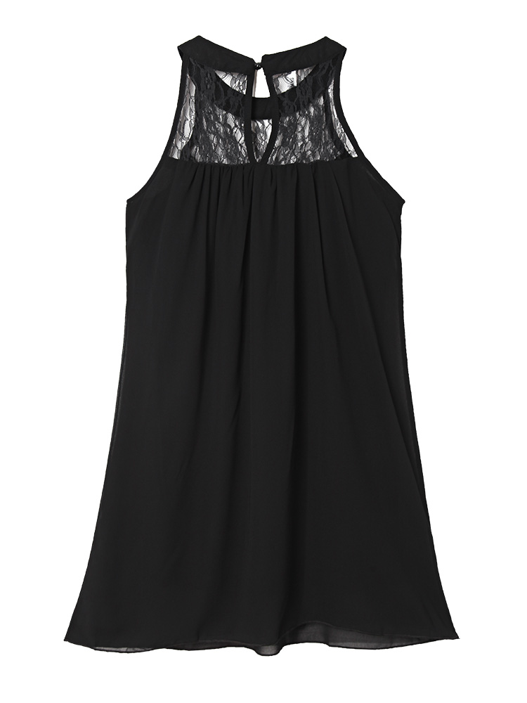 Sexy Loose Women Solid Halter Lace Patchwork Chiffon Mini Dress