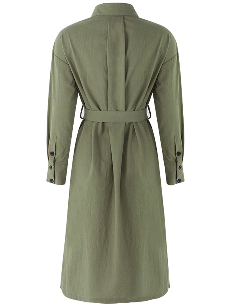 Plus Size Casual Women Army Green Trench Coat