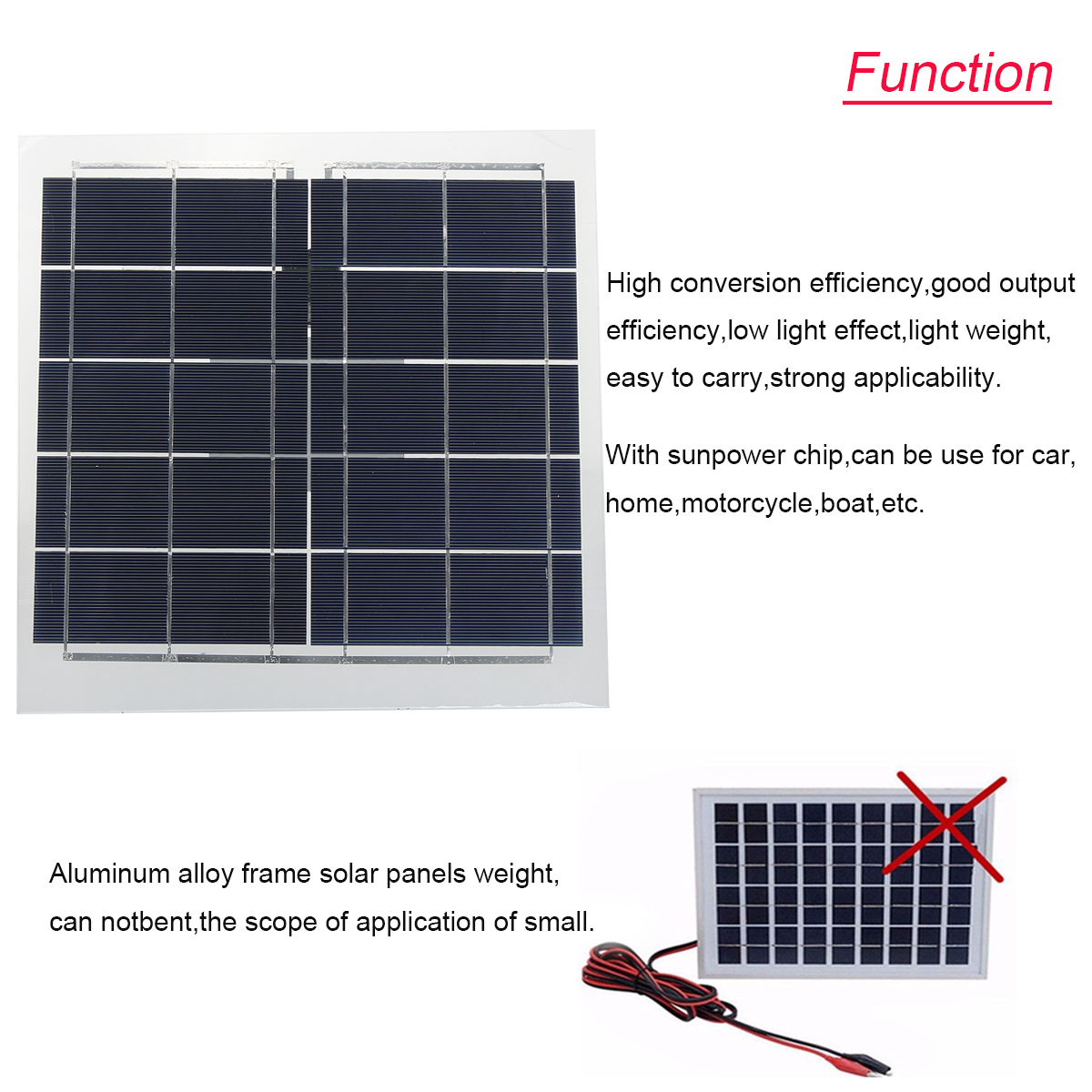 Elfeland® SP-12W5V Semi-Flexible Sunpower Solar Panel USB Interface For Smartphone