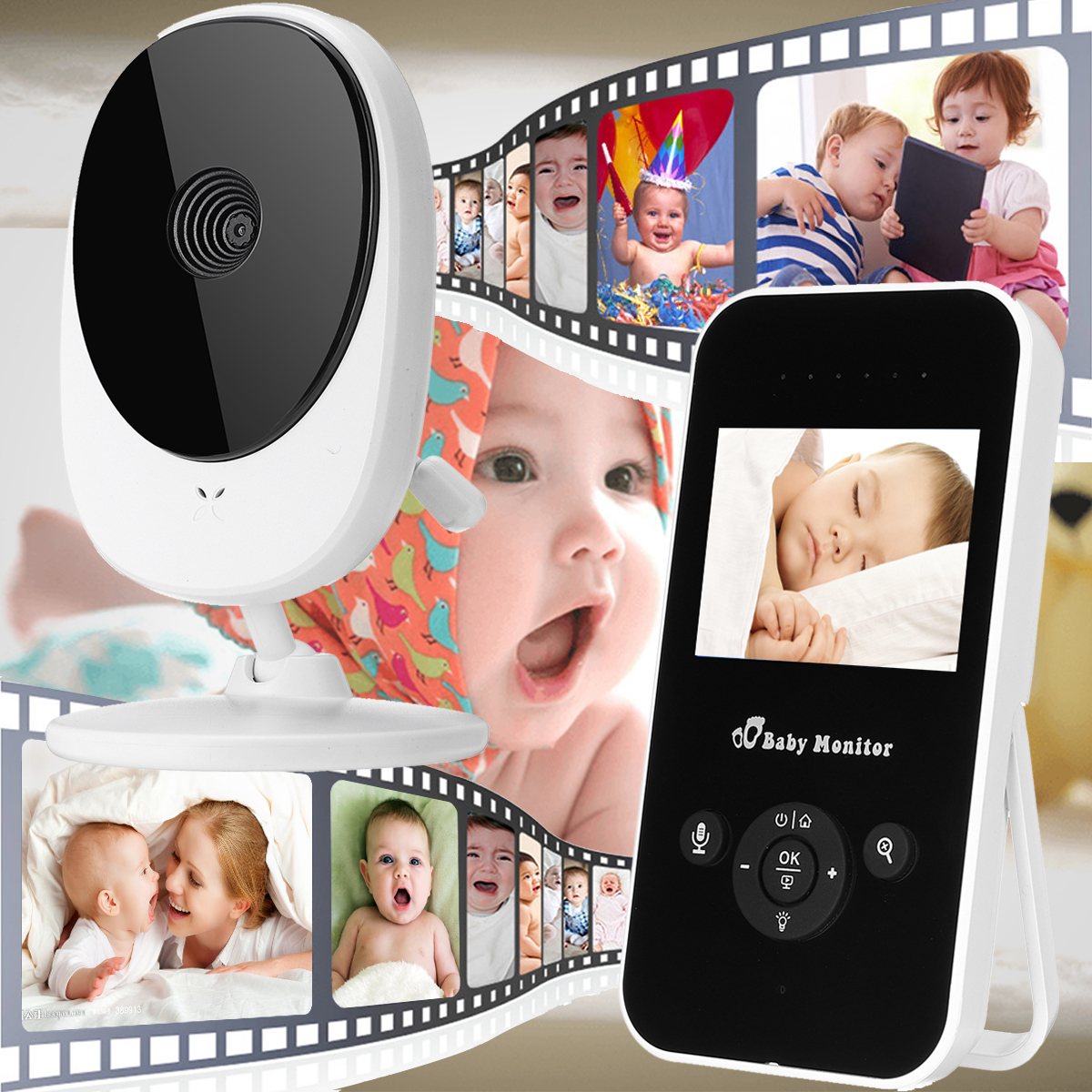 HD 1080P Camera 2.4G Wireless 2.4inch LCD Baby Monitors Video Night Vision 2 Way Talk Home Gift