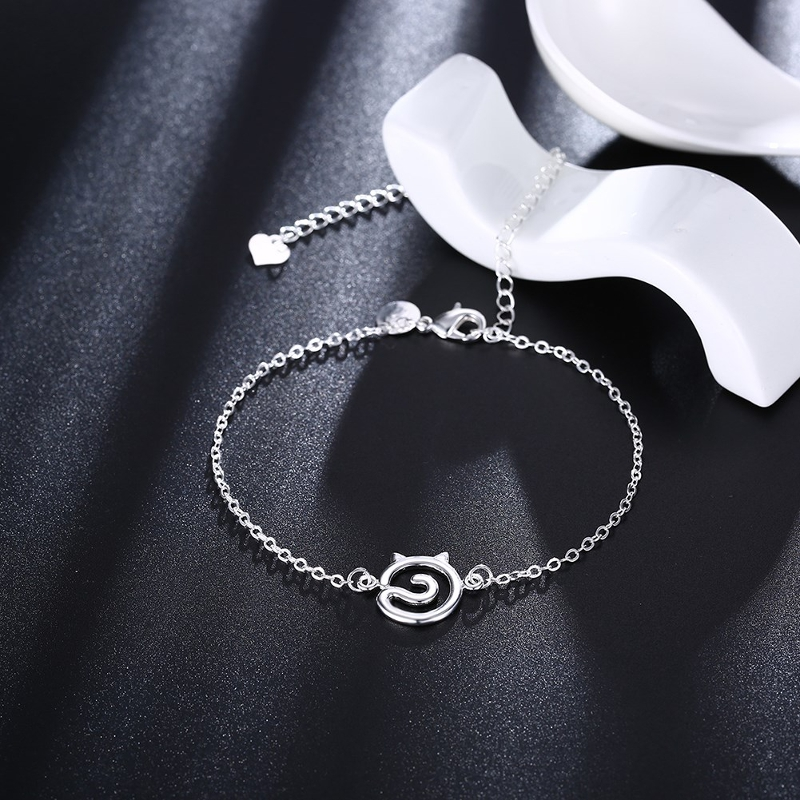YUEYIN Trendy Silver Plated Cat Shape Anklet Foot Chain