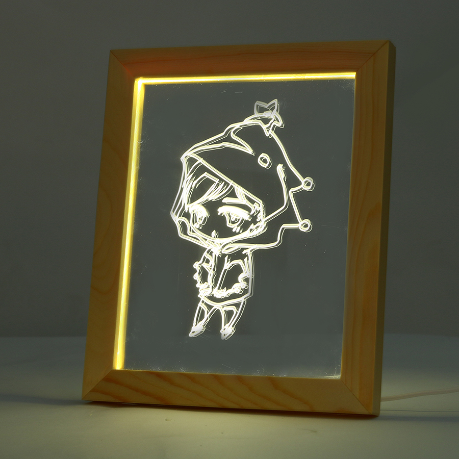 KCASA FL-7010 3D Photo Frame Illuminative LED Night Light Wooden Girl Desktop Decorative USB Lamp For Bedroom Art Decor Christmas Gifts