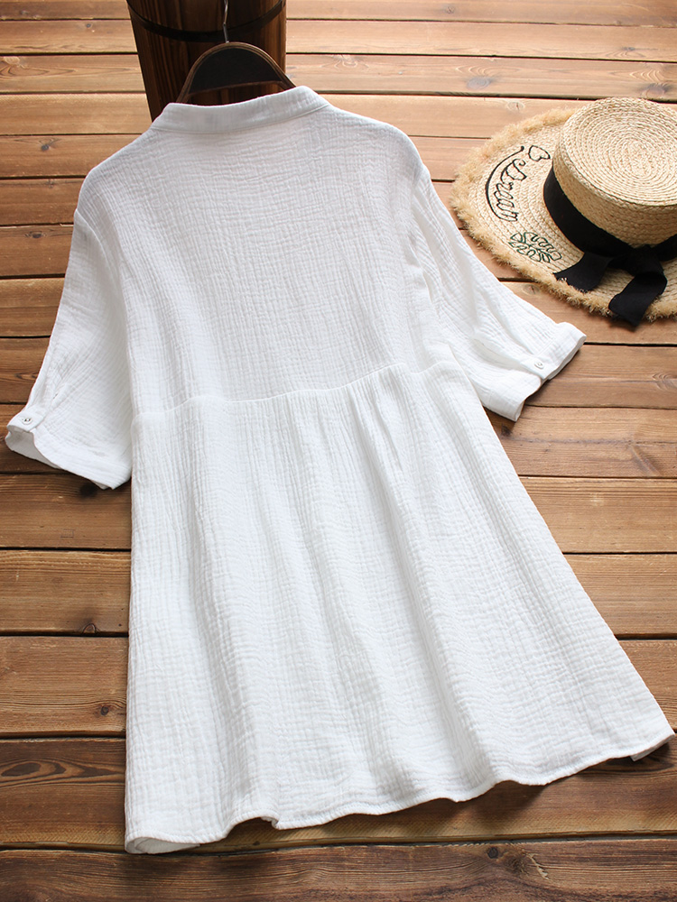 Women Short Sleeve Stand Collar Pleated Loose Blouse