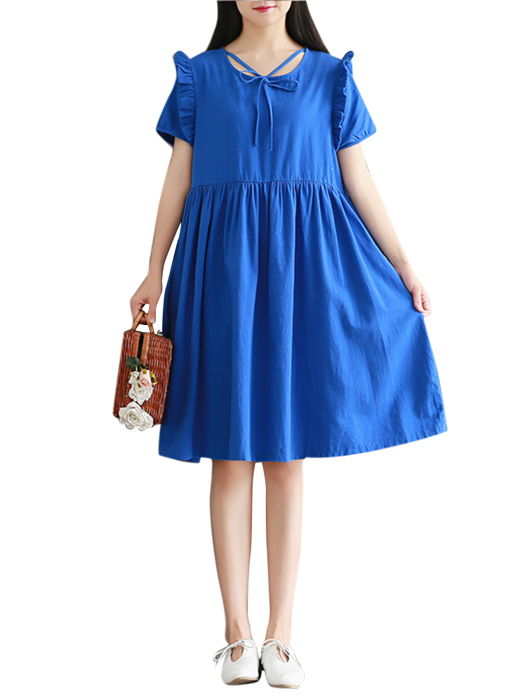 Casual Women Short Sleeve Pleated Pure Color Dresses
