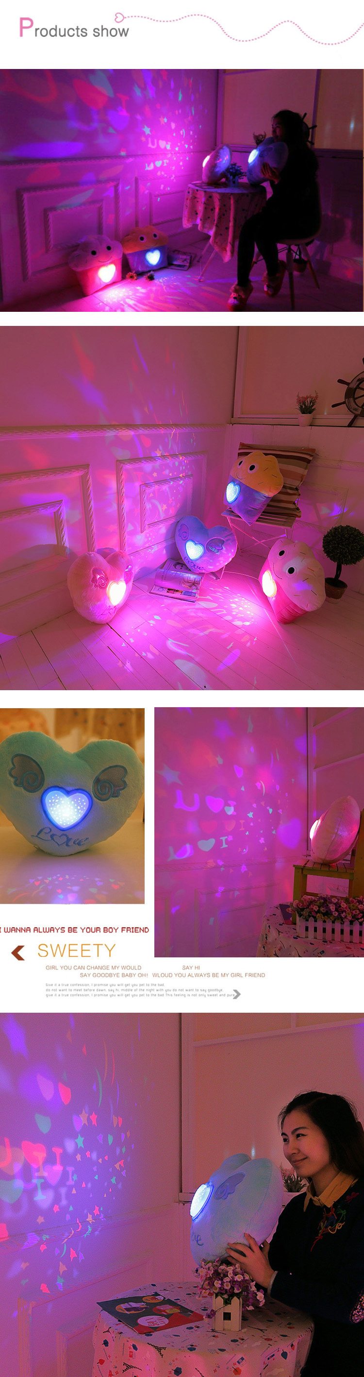 Colorful Plush LED Music Projection Star Cake Heart Shape Throw Pillow Home Sofa Decor Valentine Gift