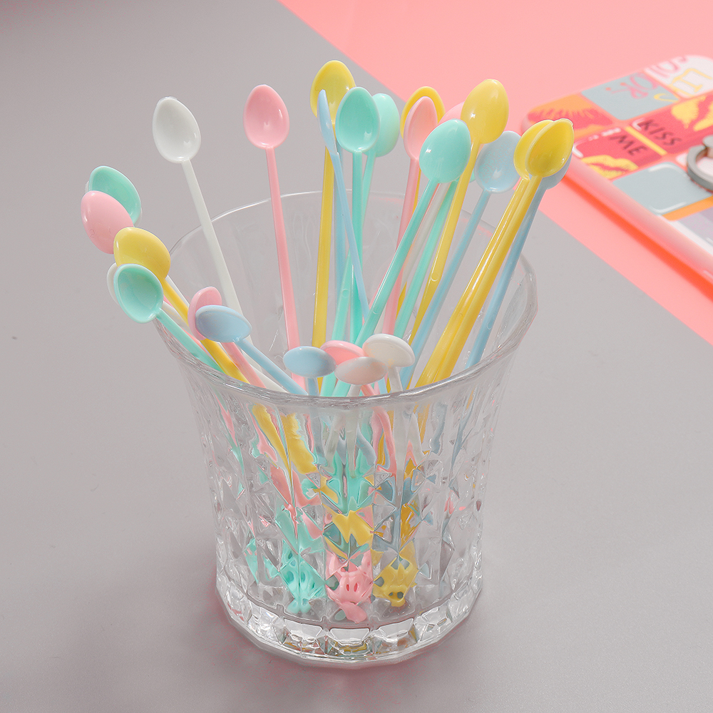 30Pcs/Set Plastic Mini Coffee Stirrer Spoon For DIY Slime Handmade Art Project Tools Drinking Tableware Toys