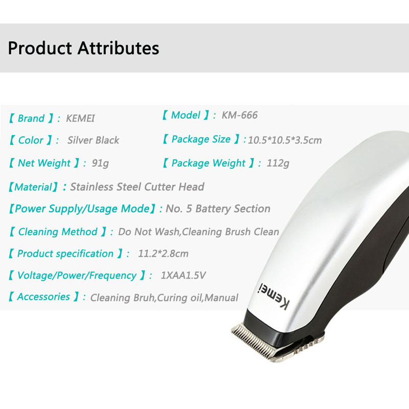 Kemei KM-666 Mini Electric Hair Clipper