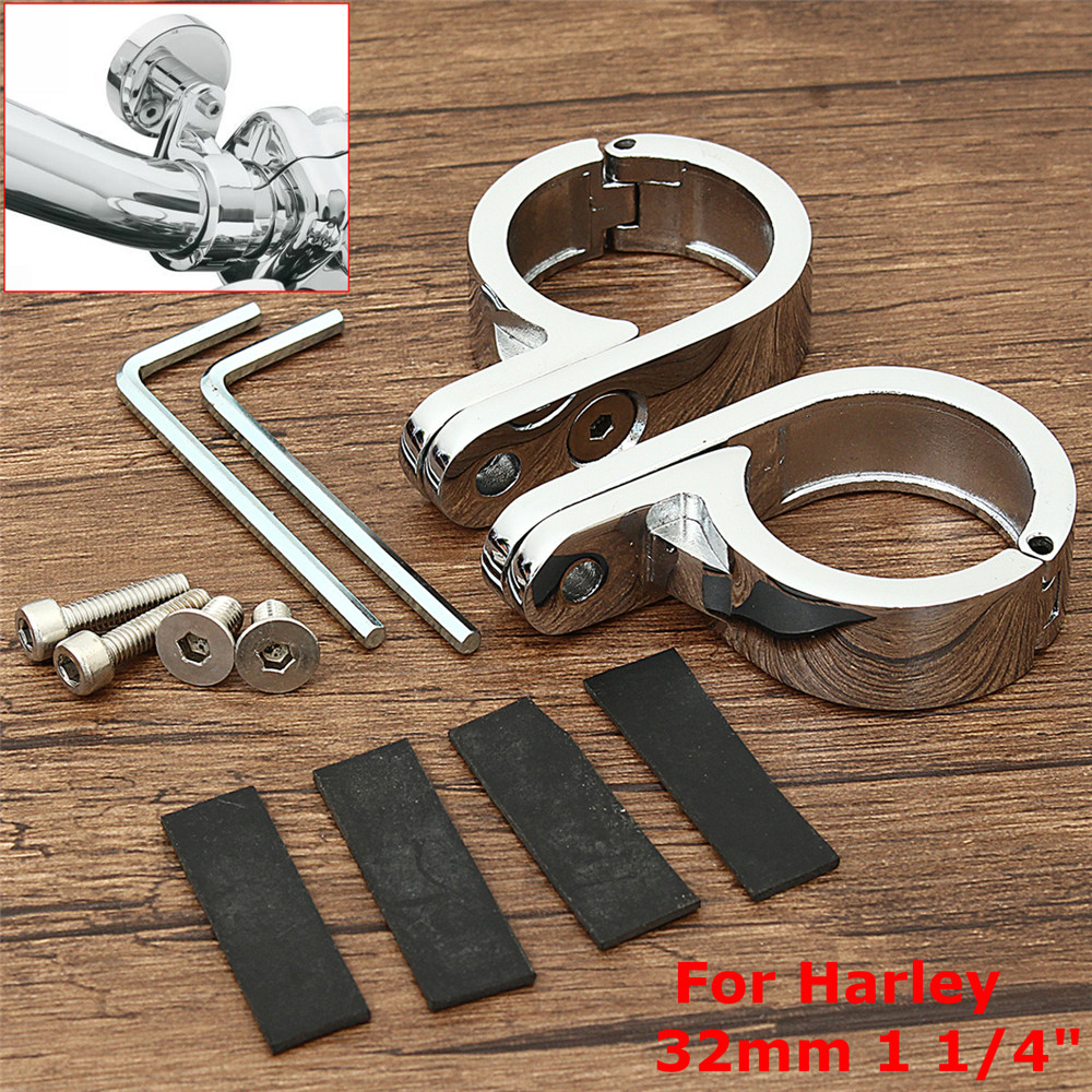 Pair Chrome Motorcycle Handlebar Mounts Clamp Clock 32mm/1.25inches For Harley