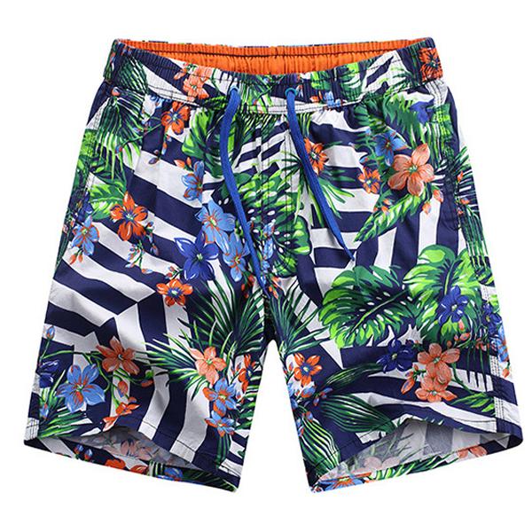 Mens Floral Printing Fashion Board Shorts Casual Summer Swimming Beach Shorts