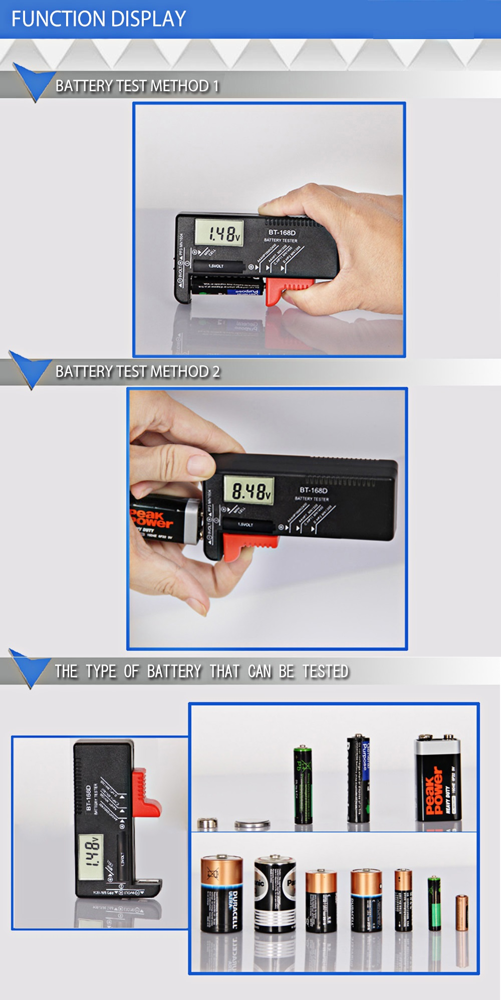 ANENG BT-168D Digital Universal Battery Checker Volt Checker For 9V 1.5V And AA AAA Cell Batteries LCD Display Battery Tester Measuring Tools