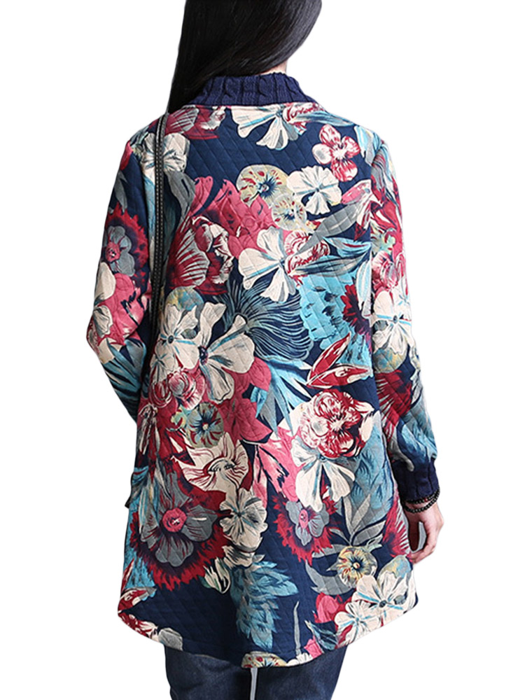 Folk Style Women Single Breasted Pocket Floral Print Thicken Cotton Coat